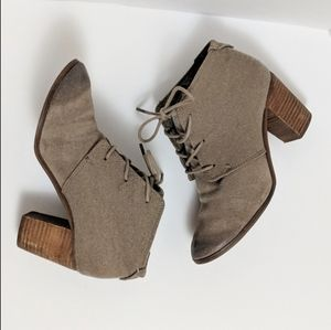 TOMS Lunata Lace-Up Burnished Ankle Boots